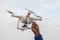 The drone copter with digital camera