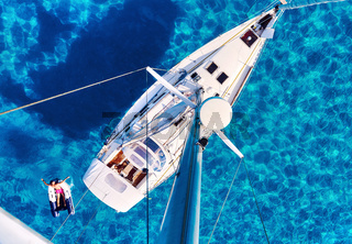 Yacht and clear Mediterranean sea