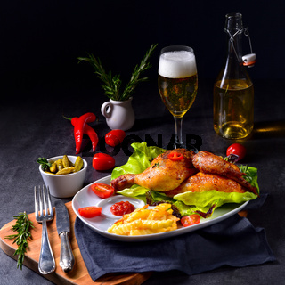 fried chicken with chips and salad