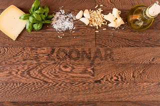 Natural ingredients for pesto genovese
