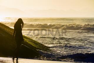 Girl at sunrise