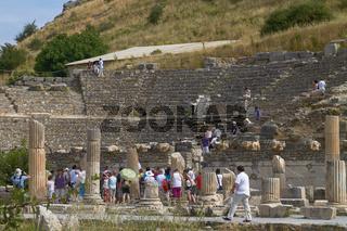 People Visiting and Enjoying Ancient Ruins in Ephesus Turkey