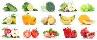 Früchte Obst und Gemüse Apfel Tomaten Farben Sammlung Freisteller freigestellt isoliert