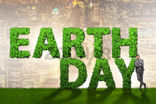 Businessman in earth day responsible business concept