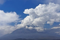 El Misti Volcano, surrounded by clouds, Arequipa, Peru