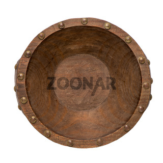 Empty brown wooden bowl