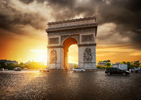 Cloudy sky and Arc de Triomphe