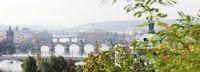 morgendliches prag, moldaubrücken, herbstlich, panorama