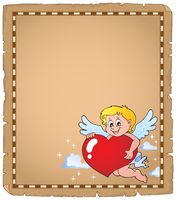 Cupid holding stylized heart parchment 2