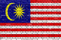 flag of Malaysia painted on brick wall