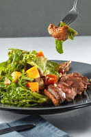 delicious, grilled meat duck with roasted pumpkin