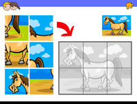 jigsaw puzzles with pony farm animal character