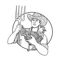 Farmer Holding Hen Pitchfork Zentagle