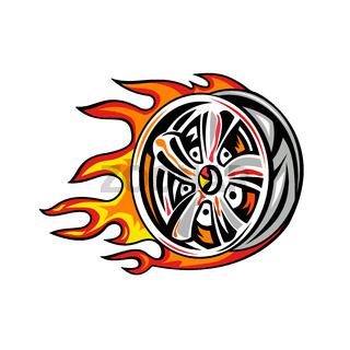 Flaming Wheel Rim on Fire