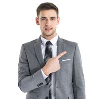 Business man in suit pointing aside