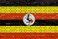 flag of Uganda painted on brick wall