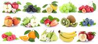 Früchte Frucht Obst Collage Apfel Orange Banane Orangen Kiwi Äpfel Birne Trauben Kirschen Freisteller freigestellt isoliert