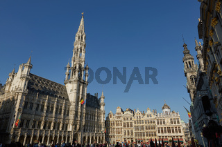 Tourists at the Grand Place in Brussels, Belgium