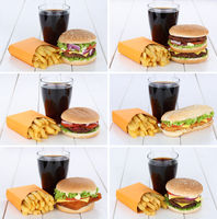 Hamburger Sammlung Collage Cheeseburger Menu Menü Menue Pommes Frites Cola