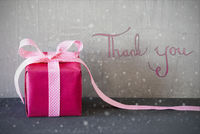 Pink Present, Calligraphy, Snowflakes, Thank You