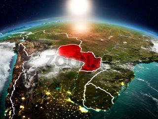 Paraguay in sunrise from orbit