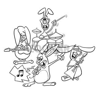 rabbits rock musicians band coloring book