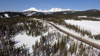 Highway Cuts Through The Cascade Mountains Central Oregon