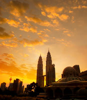 Asy-Syakirin Mosque with Petronas Towers at the background