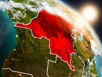 Democratic Republic of Congo from space during sunrise