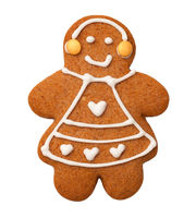 Gingerbread Woman Isolated on White Background