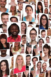 Hintergrund People multikulturell jung glücklich lachen Menschen Leute Gruppe