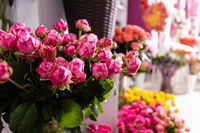 Bouquets roses at a florist's shop