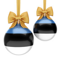 3D rendering Christmas ball with the flag of Estonia