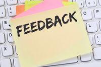 Feedback Kundendienst Service Meinung Bewertung Kontakt Business Konzept Notizzettel