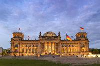 Berlin night city skyline at Reichstag (Bundestag), Berlin, Germany