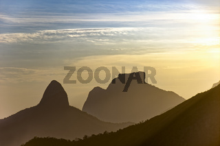 Gavea stone and Two Brothers hill at sunset