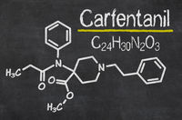 Blackboard with the chemical formula of Carfentanil