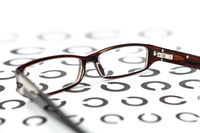 Glasses on eye test