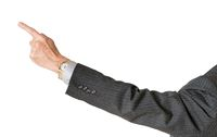 Senior caucasian executive pointing finger and isolated