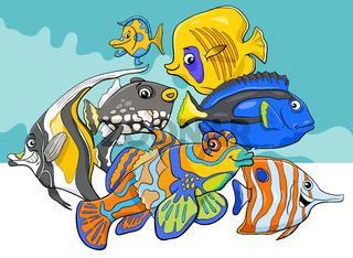 tropical fish sea life animal characters group