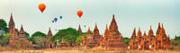 Balloons over Temples in Bagan. Myanmar. Panorama