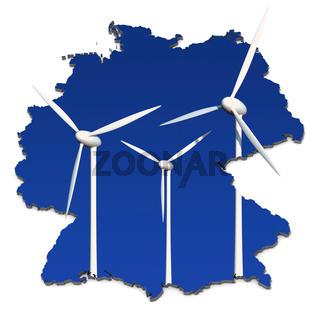Windkrafträder vor blau in Deutschlandkarte