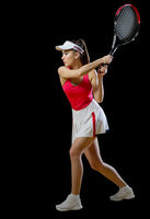 Young woman tennis player isolated (without ball version)