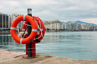 Lifebuoys on quay in Thessaloniki