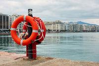 Lifebuoys on quay in Thessaloniki