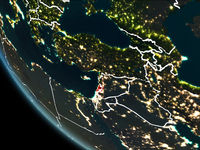Satellite view of Lebanon at night