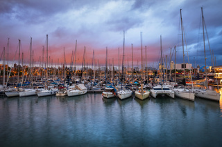 Port Vell Marina at Twilight in Barcelona