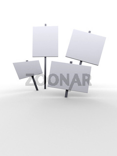3d white placards