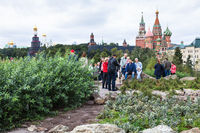 tourists on hill in Zaryadye park and Kremlin view