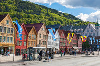 Street at Bryggen in the city of Bergen in Norway